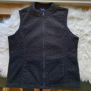 Basic Edition Black Corduroy Quilted Vest L